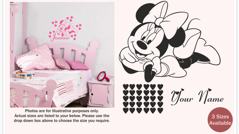Minnie Mouse With Any Personalised Name/text And 30 Individual Hearts.