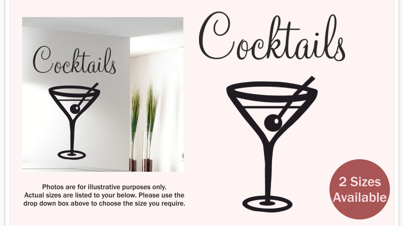 Retro cocktail glass wall sticker quote decal cocktails for Cocktail quote