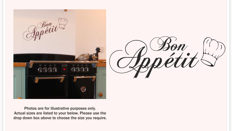 BON APPETIT WALL DECAL  Inc Chef Hat  STICKER VINYL ART