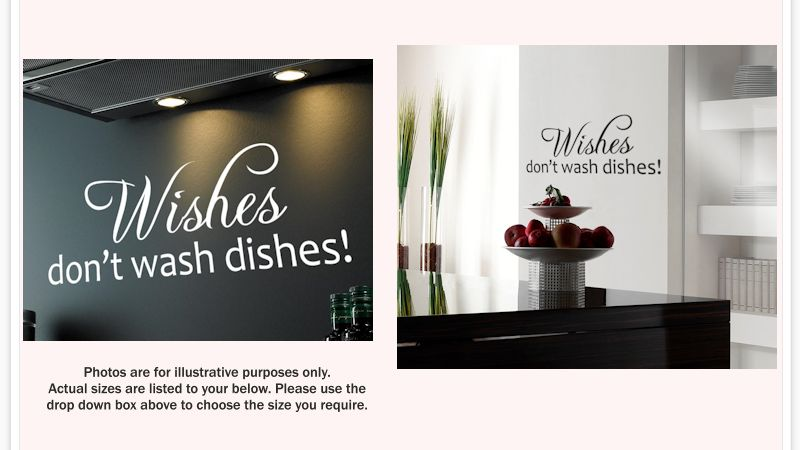 Wishes Don T Wash Dishes Kitchen Wall Sticker Quote
